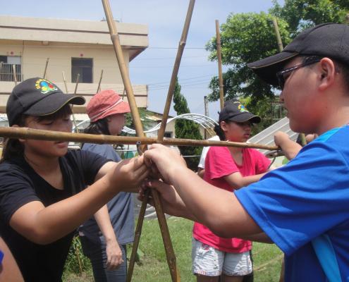 我們正努力的綁竹子,讓番茄可以攀爬。
